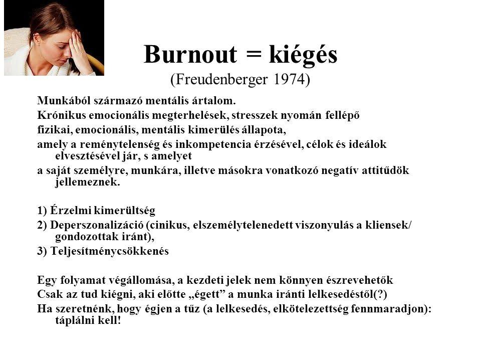 Burnout = kiégés (Freudenberger 1974) Munkából származó mentális ártalom. Krónikus emocionális megterhelések, stresszek nyomán fellépő fizikai, emocio
