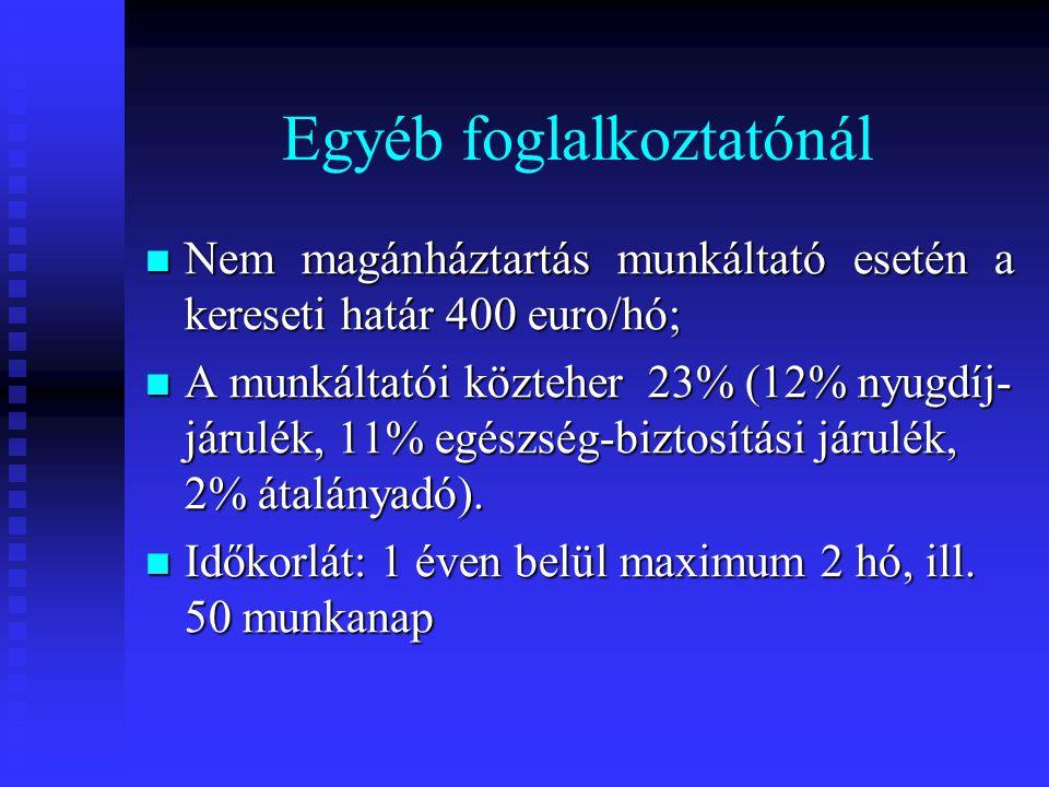Egyéb foglalkoztatónál  Nem magánháztartás munkáltató esetén a kereseti határ 400 euro/hó;  A munkáltatói közteher 23% (12% nyugdíj- járulék, 11% egészség-biztosítási járulék, 2% átalányadó).