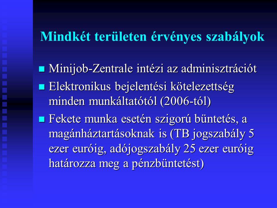 Mindkét területen érvényes szabályok  Minijob-Zentrale intézi az adminisztrációt  Elektronikus bejelentési kötelezettség minden munkáltatótól (2006-tól)  Fekete munka esetén szigorú büntetés, a magánháztartásoknak is (TB jogszabály 5 ezer euróig, adójogszabály 25 ezer euróig határozza meg a pénzbüntetést)