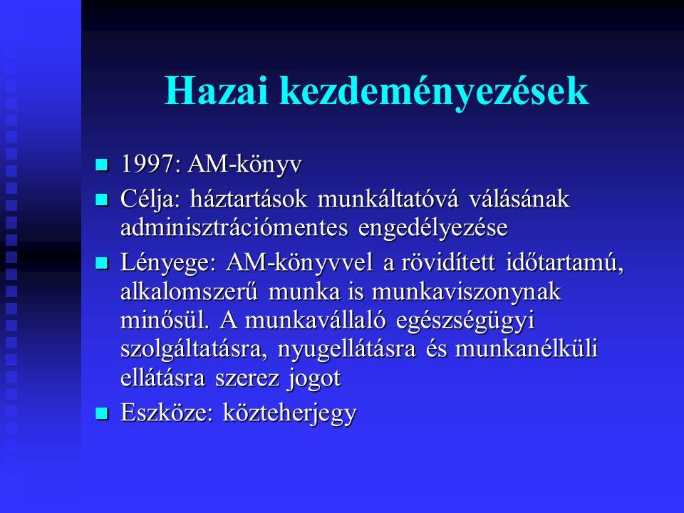Hazai kezdeményezések  1997: AM-könyv  Célja: háztartások munkáltatóvá válásának adminisztrációmentes engedélyezése  Lényege: AM-könyvvel a rövidített időtartamú, alkalomszerű munka is munkaviszonynak minősül.