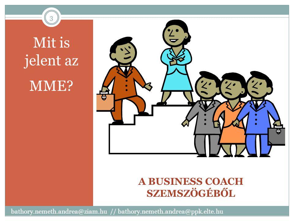 A BUSINESS COACH SZEMSZÖGÉBŐL Mit is jelent az MME? bathory.nemeth.andrea@ziam.hu // bathory.nemeth.andrea@ppk.elte.hu 3