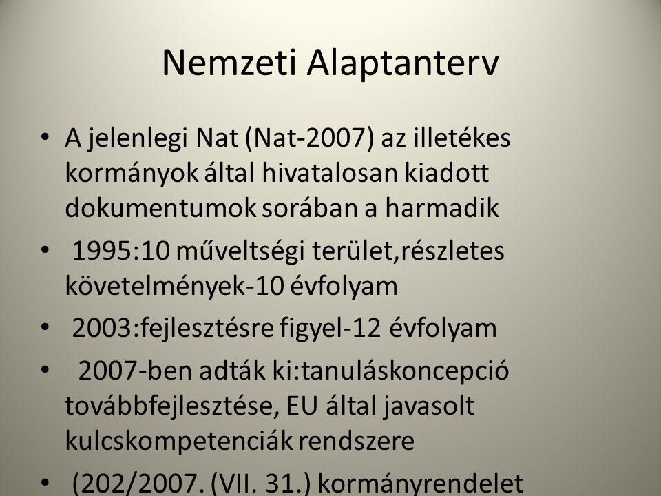 Nemzeti Alaptanterv • A jelenlegi Nat (Nat-2007) az illetékes kormányok által hivatalosan kiadott dokumentumok sorában a harmadik • 1995:10 műveltségi