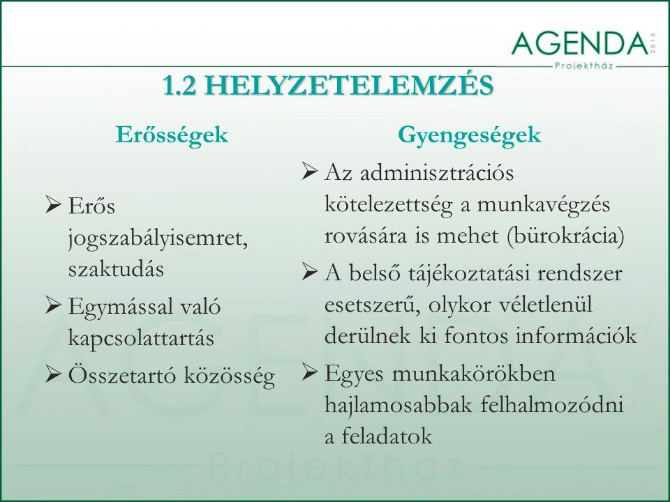 Erősségek  Erős jogszabályisemret, szaktudás  Egymással való kapcsolattartás  Összetartó közösség Gyengeségek  Az adminisztrációs kötelezettség a munkavégzés rovására is mehet (bürokrácia)  A belső tájékoztatási rendszer esetszerű, olykor véletlenül derülnek ki fontos információk  Egyes munkakörökben hajlamosabbak felhalmozódni a feladatok 1.2 HELYZETELEMZÉS