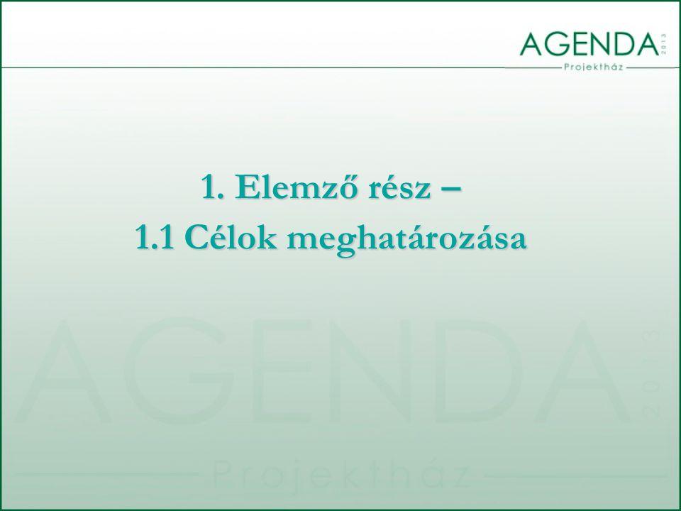 6) Az egyéni és a szervezeti/csoportcélok összehangolása 7) Az egyéni és szervezeti/csoportcélok elérésének transzparenciája, kommunikálása 8) A jó megoldások, teljesítmények követhetősége 9) A hibák transzparenciája és fejlődésre való felhasználásuk 10) Meghatározott időközönként a felmerült hibák elemzése, következtetések levonása 2.1.1 STRATÉGIAI CÉLOK