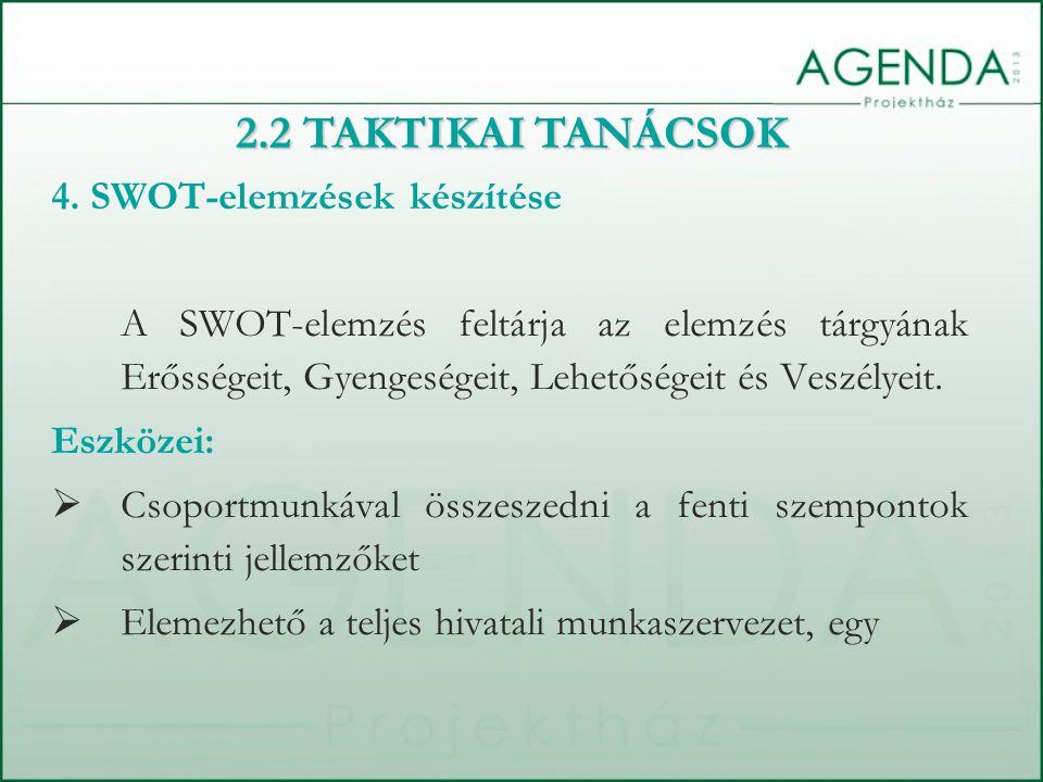 4. SWOT-elemzések készítése A SWOT-elemzés feltárja az elemzés tárgyának Erősségeit, Gyengeségeit, Lehetőségeit és Veszélyeit. Eszközei:  Csoportmunk