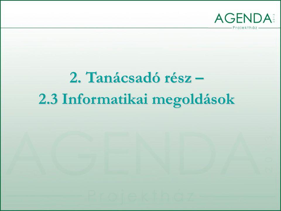 2. Tanácsadó rész – 2.3 Informatikai megoldások