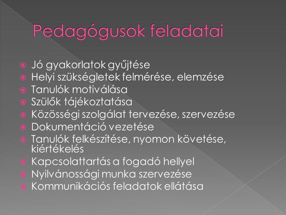  Jó gyakorlatok gyűjtése  Helyi szükségletek felmérése, elemzése  Tanulók motiválása  Szülők tájékoztatása  Közösségi szolgálat tervezése, szervezése  Dokumentáció vezetése  Tanulók felkészítése, nyomon követése, kiértékelés  Kapcsolattartás a fogadó hellyel  Nyilvánossági munka szervezése  Kommunikációs feladatok ellátása