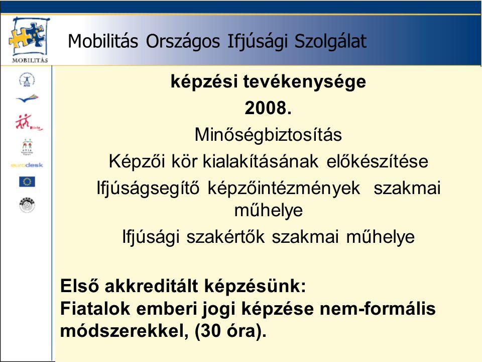 Mobilitás Országos Ifjúsági Szolgálat képzési tevékenysége 2008.