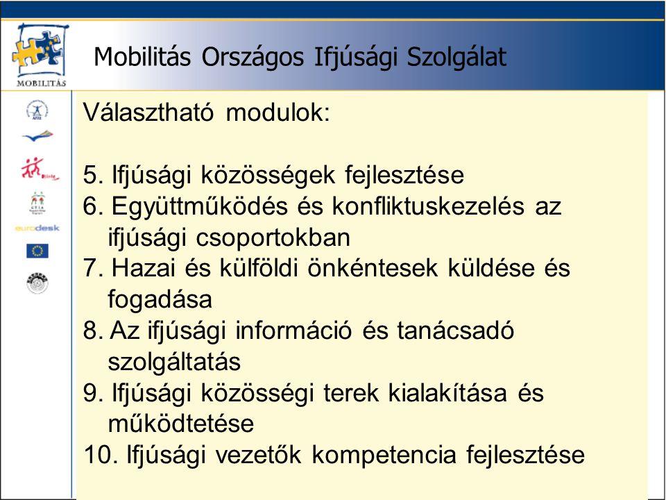 Mobilitás Országos Ifjúsági Szolgálat Választható modulok: 5.