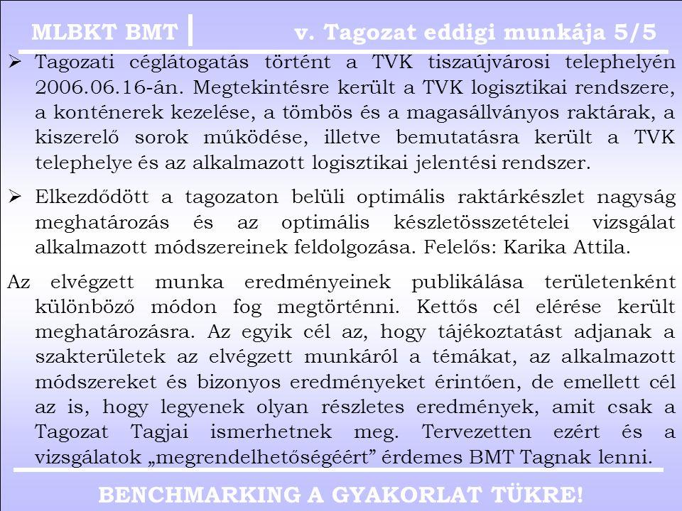 BENCHMARKING A GYAKORLAT TÜKRE! v. Tagozat eddigi munkája 5/4MLBKT BMT Pap Sándor Magyar Telekom Nyrt. Ellátásmenedzsment igazgatóhelyettes MLBKT BMT