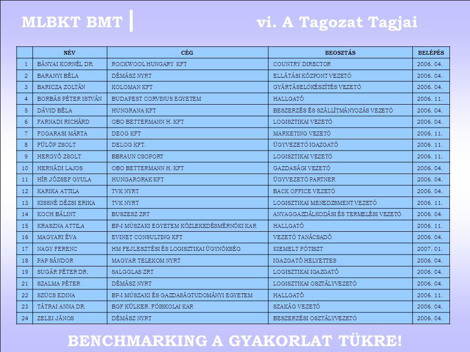 BENCHMARKING A GYAKORLAT TÜKRE! v. Tagozat eddigi munkája 5/5MLBKT BMT  Tagozati céglátogatás történt a TVK tiszaújvárosi telephelyén 2006.06.16-án.