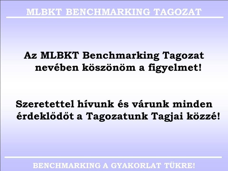 BENCHMARKING A GYAKORLAT TÜKRE! vi. A Tagozat TagjaiMLBKT BMT NÉVCÉGBEOSZTÁSBELÉPÉS 1BÁNYAI KORNÉL DR.ROCKWOOL HUNGARY KFTCOUNTRY DIRECTOR2006. 04. 2B