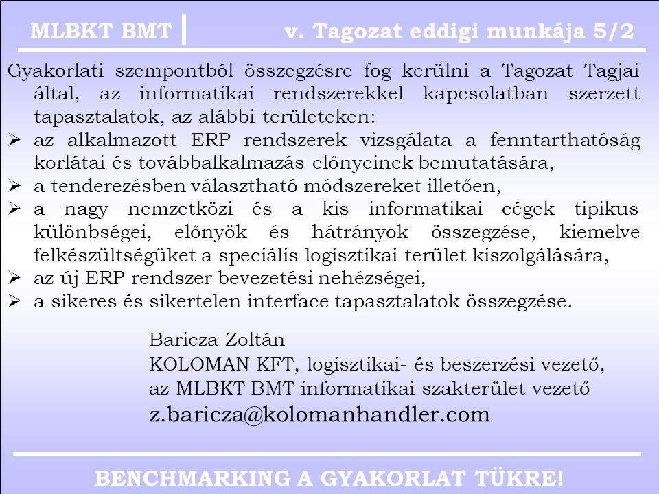 BENCHMARKING A GYAKORLAT TÜKRE! v. Tagozat eddigi munkája 5/1MLBKT BMT Dr. Bányai Kornél ROCKWOOL HUNGARY KFT, igazgató az MLBKT BMT oktatási szakterü