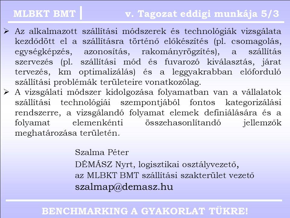 BENCHMARKING A GYAKORLAT TÜKRE! v. Tagozat eddigi munkája 5/2MLBKT BMT Baricza Zoltán KOLOMAN KFT, logisztikai- és beszerzési vezető, az MLBKT BMT inf