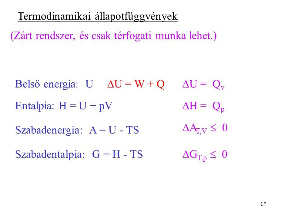 17 Termodinamikai állapotfüggvények (Zárt rendszer, és csak térfogati munka lehet.) Belső energia: U  U = W + Q  U = Q v Entalpia: H = U + pV  H =