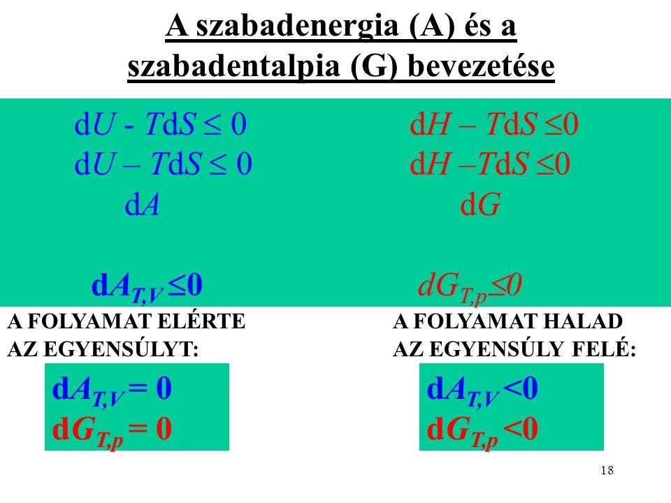 18 dU - TdS  0 dH – TdS  0 dU – TdS  0 dH –TdS  0 dA dG dA T,V  0 dG T,p  0 A szabadenergia (A) és a szabadentalpia (G) bevezetése A FOLYAMAT EL