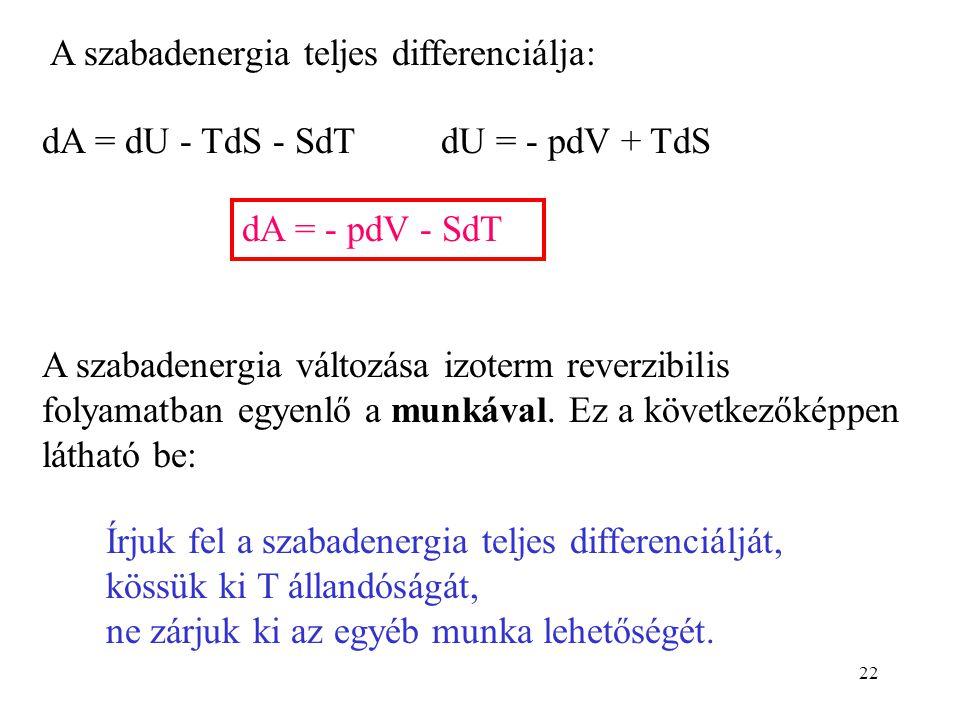 22 A szabadenergia teljes differenciálja: dA = dU - TdS - SdT dU = - pdV + TdS dA = - pdV - SdT A szabadenergia változása izoterm reverzibilis folyama