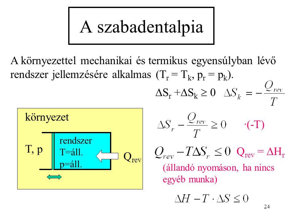 24 A szabadentalpia A környezettel mechanikai és termikus egyensúlyban lévő rendszer jellemzésére alkalmas (T r = T k, p r = p k ). rendszer T=áll. p=