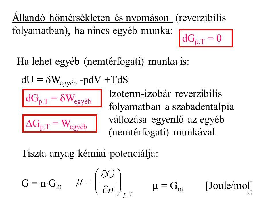 27 Állandó hőmérsékleten és nyomáson (reverzibilis folyamatban), ha nincs egyéb munka: dG p,T = 0 Ha lehet egyéb (nemtérfogati) munka is: dU =  W egy