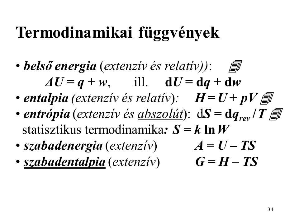 34 Termodinamikai függvények • belső energia (extenzív és relatív)):  ΔU = q + w, ill. dU = dq + dw • entalpia (extenzív és relatív):H = U + pV  • e