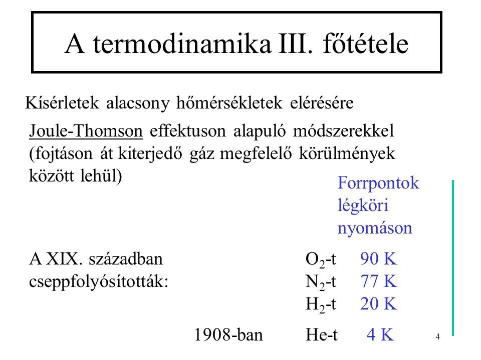 4 A termodinamika III. főtétele Kísérletek alacsony hőmérsékletek elérésére Joule-Thomson effektuson alapuló módszerekkel (fojtáson át kiterjedő gáz m