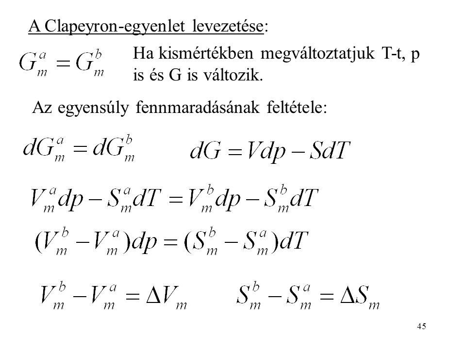 45 A Clapeyron-egyenlet levezetése: Ha kismértékben megváltoztatjuk T-t, p is és G is változik. Az egyensúly fennmaradásának feltétele: