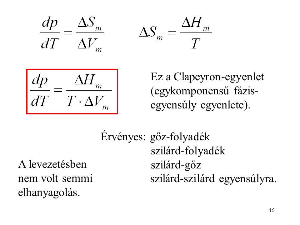 46 Ez a Clapeyron-egyenlet (egykomponensű fázis- egyensúly egyenlete). Érvényes: gőz-folyadék szilárd-folyadék szilárd-gőz szilárd-szilárd egyensúlyra
