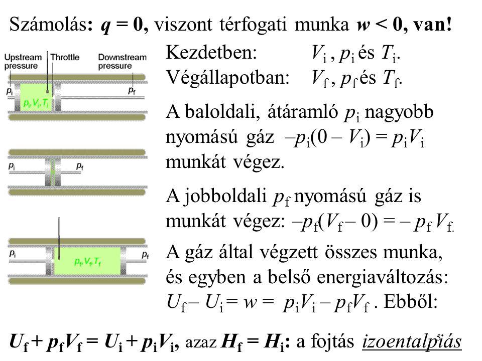 5 Számolás: q = 0, viszont térfogati munka w < 0, van! Kezdetben: V i, p i és T i. Végállapotban:V f, p f és T f. A baloldali, átáramló p i nagyobb ny