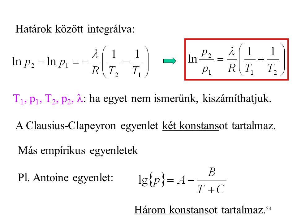 54 Határok között integrálva: T 1, p 1, T 2, p 2,  : ha egyet nem ismerünk, kiszámíthatjuk. A Clausius-Clapeyron egyenlet két konstansot tartalmaz. M