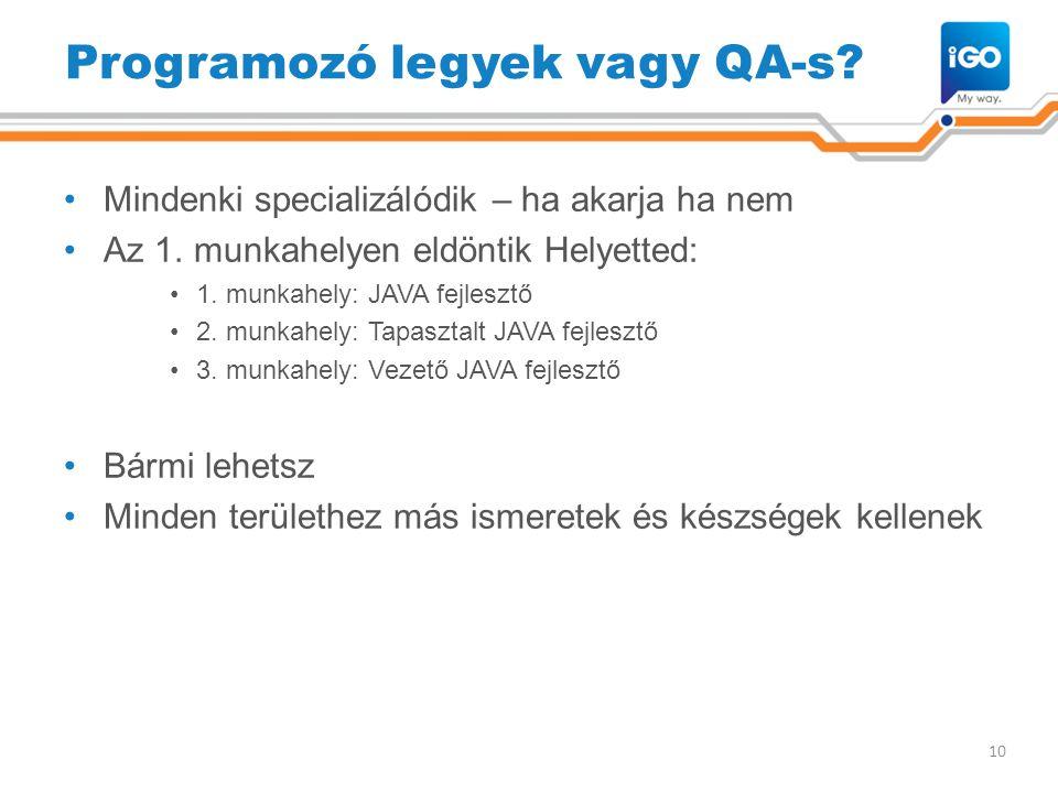 Programozó legyek vagy QA-s? •Mindenki specializálódik – ha akarja ha nem •Az 1. munkahelyen eldöntik Helyetted: •1. munkahely: JAVA fejlesztő •2. mun