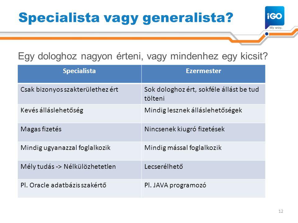 Specialista vagy generalista? Egy dologhoz nagyon érteni, vagy mindenhez egy kicsit? 12 SpecialistaEzermester Csak bizonyos szakterülethez értSok dolo