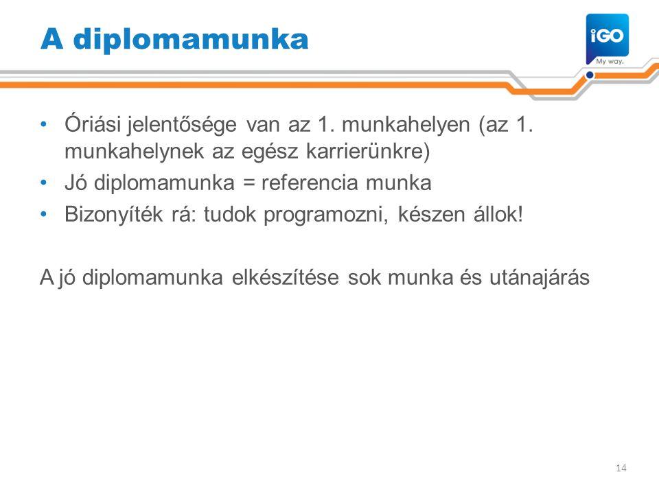 A diplomamunka •Óriási jelentősége van az 1. munkahelyen (az 1. munkahelynek az egész karrierünkre) •Jó diplomamunka = referencia munka •Bizonyíték rá