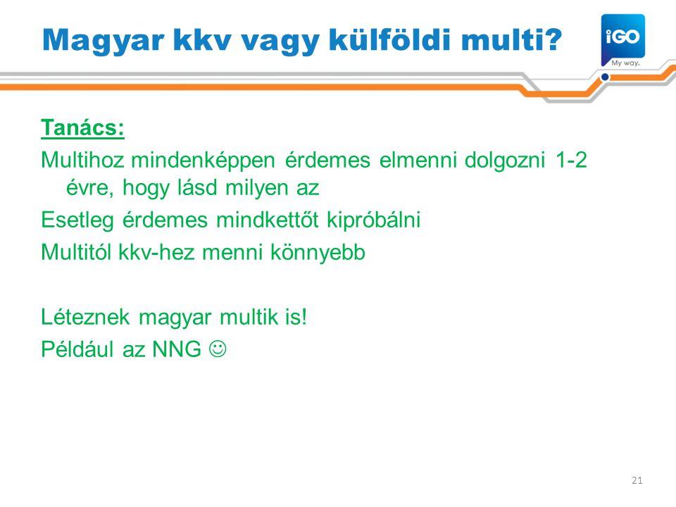 Magyar kkv vagy külföldi multi? Tanács: Multihoz mindenképpen érdemes elmenni dolgozni 1-2 évre, hogy lásd milyen az Esetleg érdemes mindkettőt kiprób