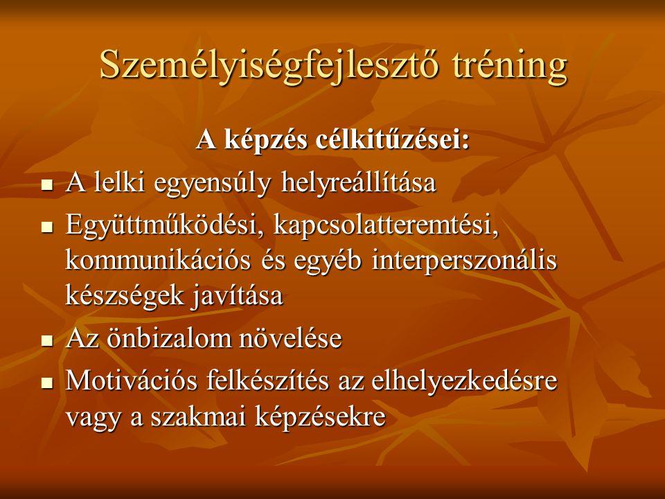 Személyiségfejlesztő tréning A képzés célkitűzései:  A lelki egyensúly helyreállítása  Együttműködési, kapcsolatteremtési, kommunikációs és egyéb in