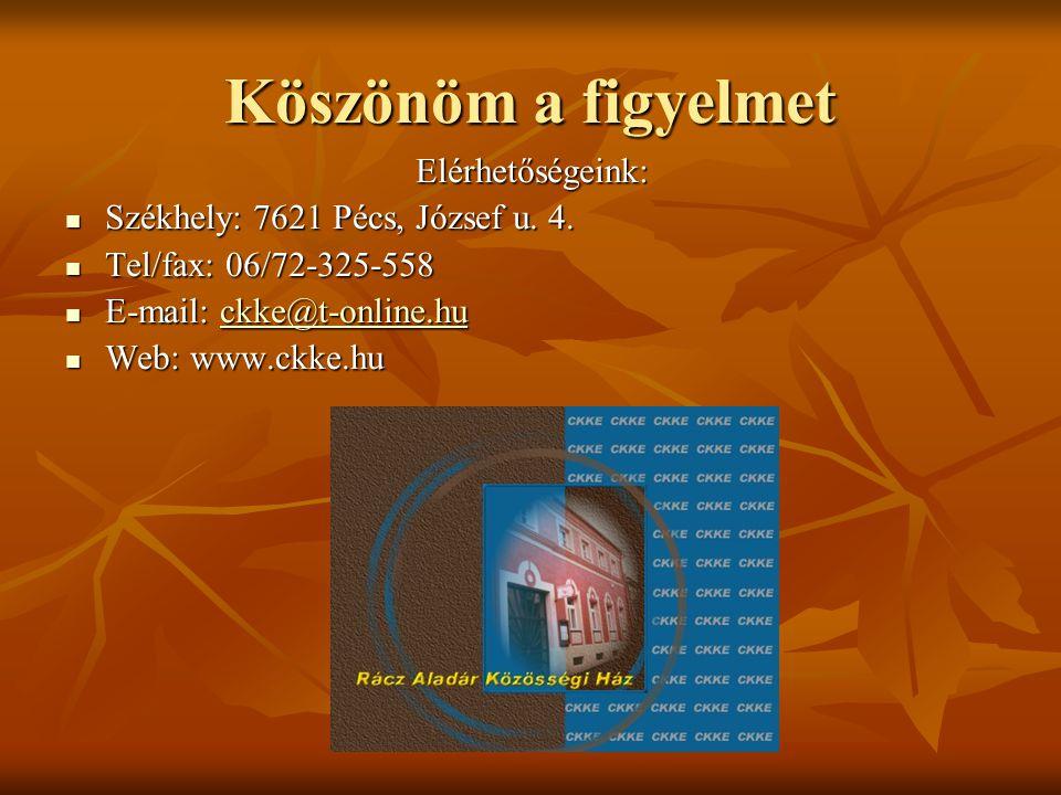 Köszönöm a figyelmet Elérhetőségeink:  Székhely: 7621 Pécs, József u. 4.  Tel/fax: 06/72-325-558  E-mail: ckke@t-online.hu ckke@t-online.hu  Web: