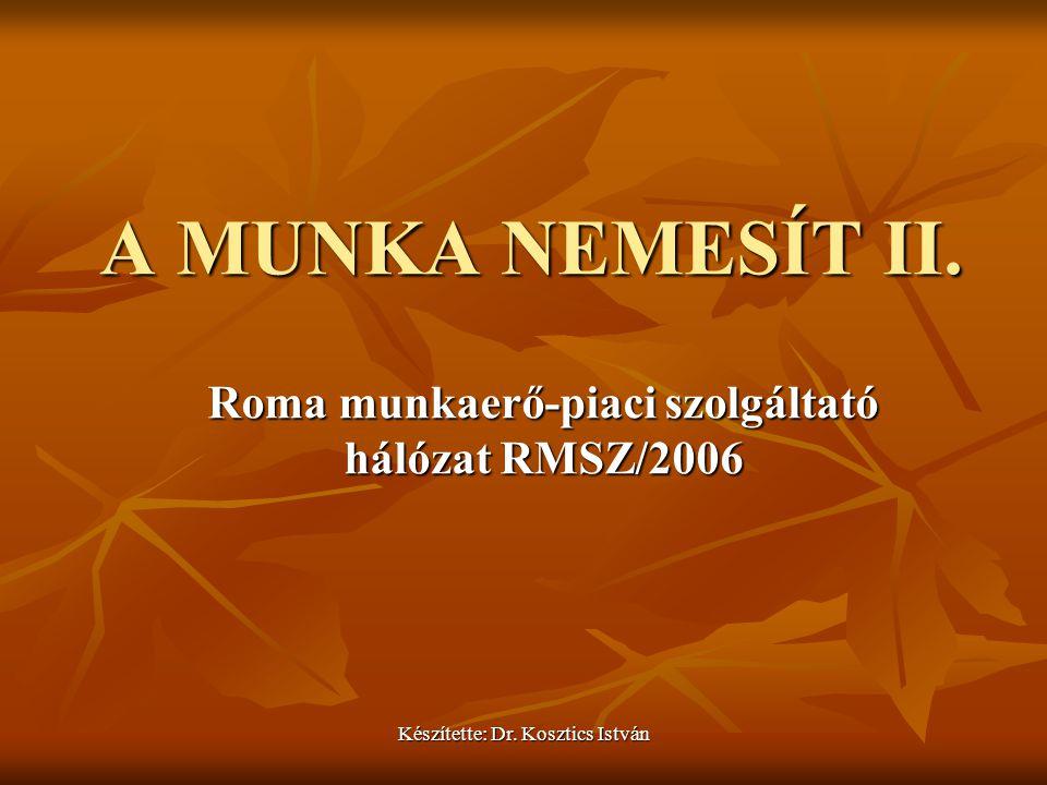 Készítette: Dr. Kosztics István A MUNKA NEMESÍT II. Roma munkaerő-piaci szolgáltató hálózat RMSZ/2006