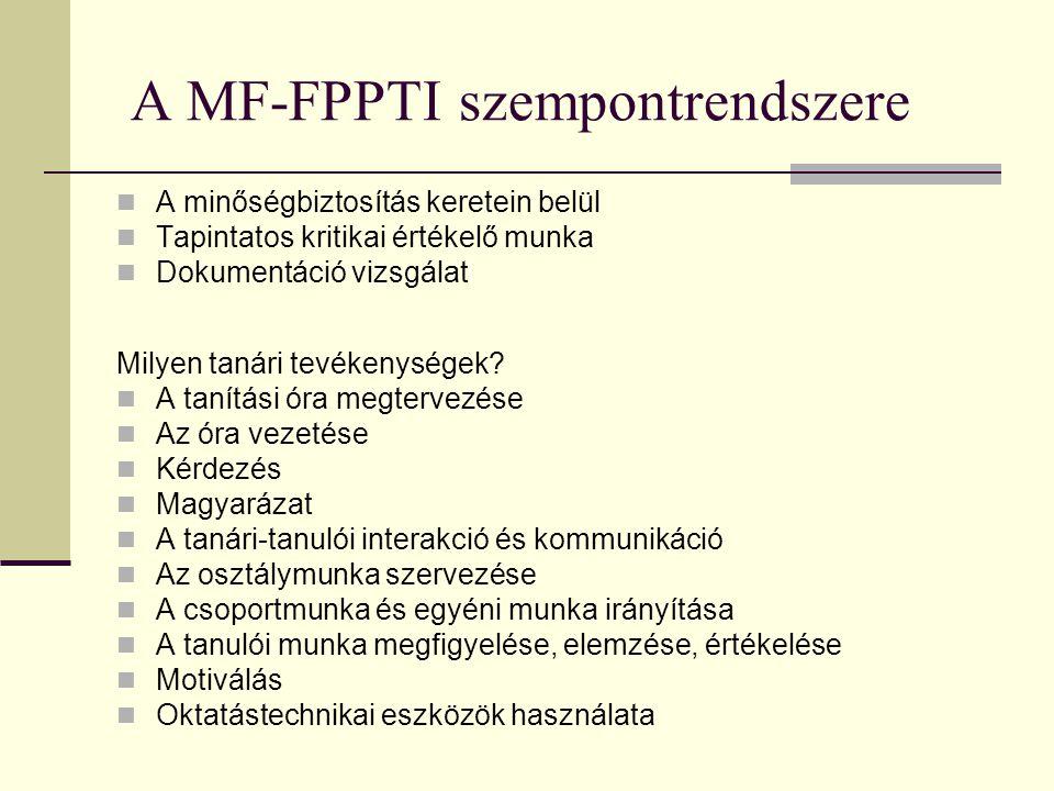 A MF-FPPTI szempontrendszere  A minőségbiztosítás keretein belül  Tapintatos kritikai értékelő munka  Dokumentáció vizsgálat Milyen tanári tevékeny