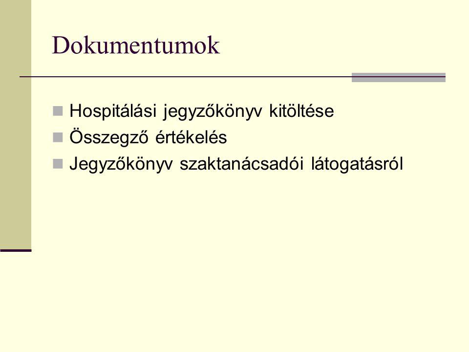 Dokumentumok  Hospitálási jegyzőkönyv kitöltése  Összegző értékelés  Jegyzőkönyv szaktanácsadói látogatásról