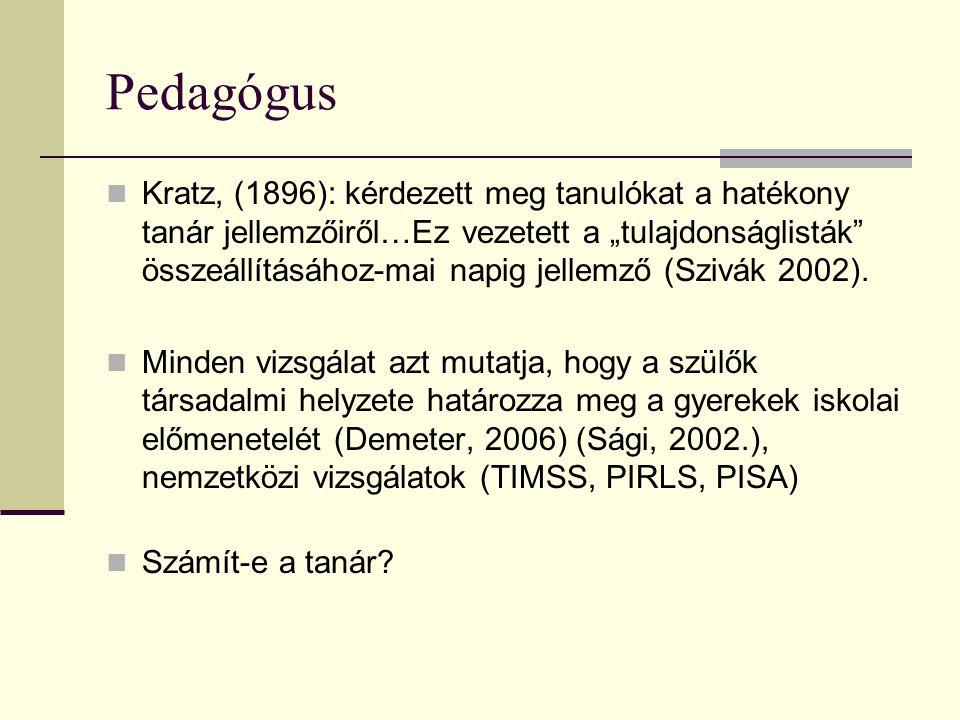 """Pedagógus  Kratz, (1896): kérdezett meg tanulókat a hatékony tanár jellemzőiről…Ez vezetett a """"tulajdonságlisták"""" összeállításához-mai napig jellemző"""