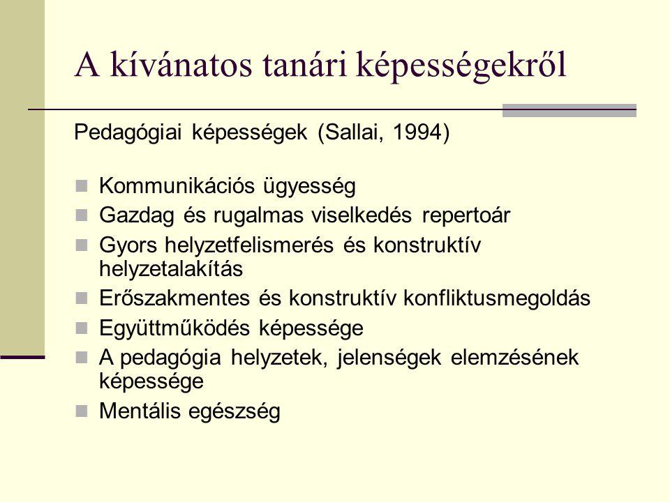 A kívánatos tanári képességekről Pedagógiai képességek (Sallai, 1994)  Kommunikációs ügyesség  Gazdag és rugalmas viselkedés repertoár  Gyors helyz