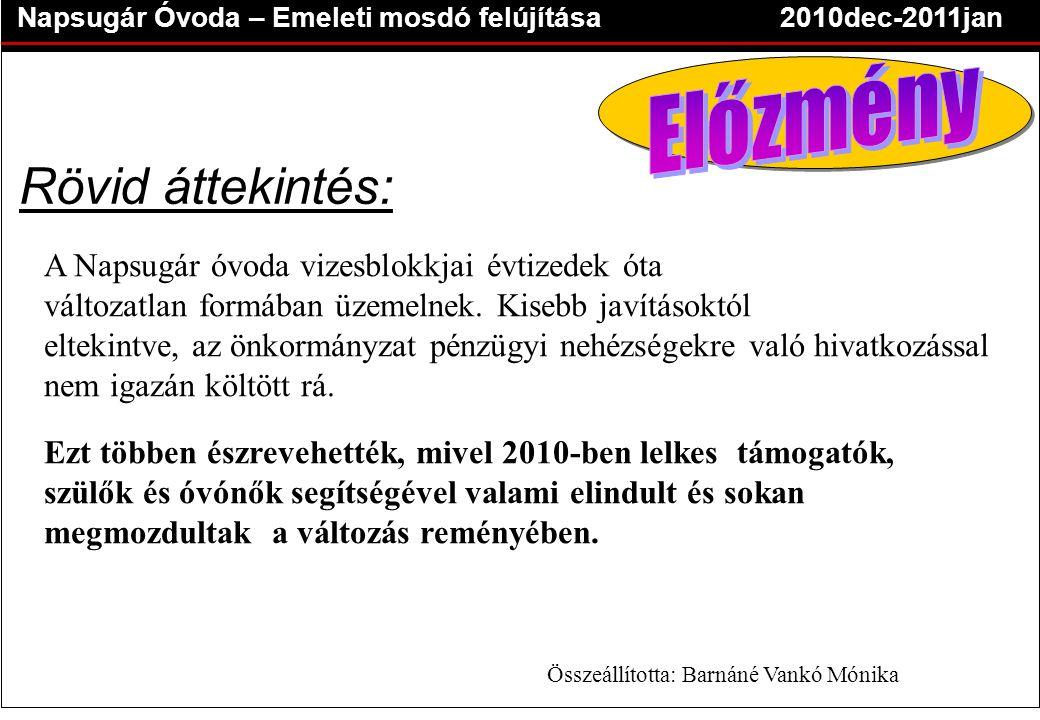 Napsugár Óvoda – Emeleti mosdó felújítása2010dec-2011jan Rövid áttekintés: A Napsugár óvoda vizesblokkjai évtizedek óta változatlan formában üzemelnek.