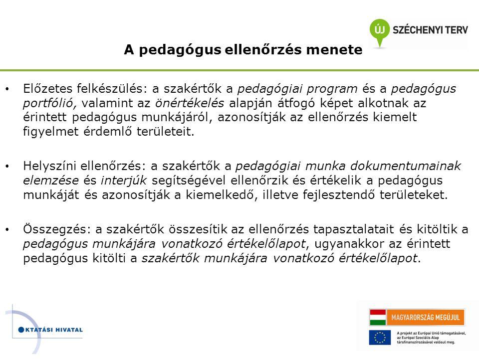 A pedagógus ellenőrzés menete • Előzetes felkészülés: a szakértők a pedagógiai program és a pedagógus portfólió, valamint az önértékelés alapján átfog