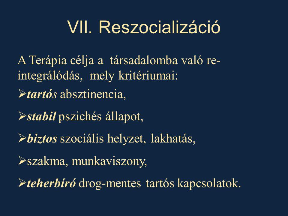 VII. Reszocializáció A Terápia célja a társadalomba való re- integrálódás, mely kritériumai:  tartós absztinencia,  stabil pszichés állapot,  bizto