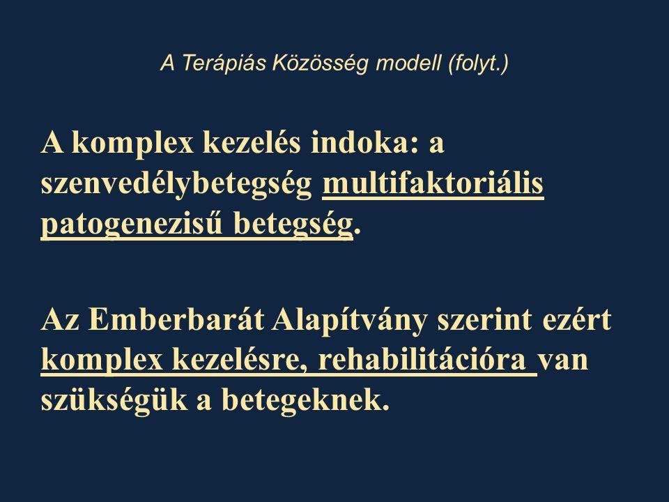 A Terápiás Közösség modell (folyt.) A komplex kezelés indoka: a szenvedélybetegség multifaktoriális patogenezisű betegség.