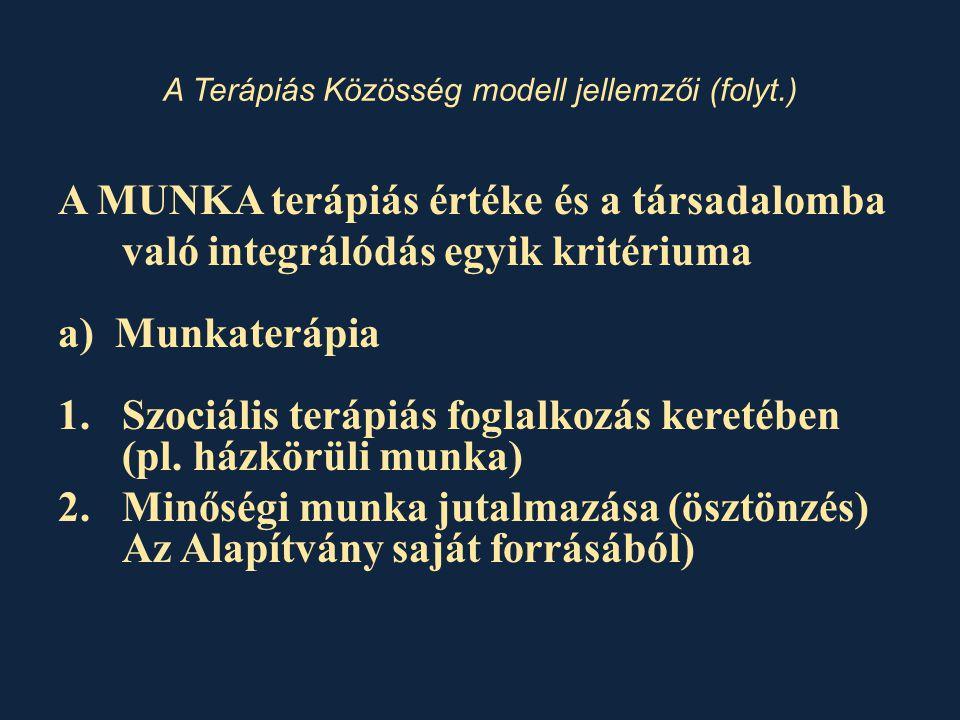 A MUNKA terápiás értéke és a társadalomba való integrálódás egyik kritériuma a) Munkaterápia 1.Szociális terápiás foglalkozás keretében (pl. házkörüli