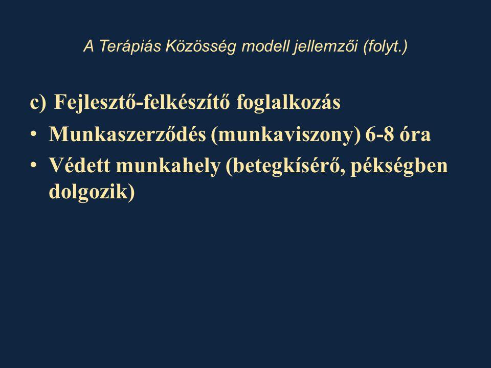 A Terápiás Közösség modell jellemzői (folyt.) c) Fejlesztő-felkészítő foglalkozás • Munkaszerződés (munkaviszony) 6-8 óra • Védett munkahely (betegkísérő, pékségben dolgozik)