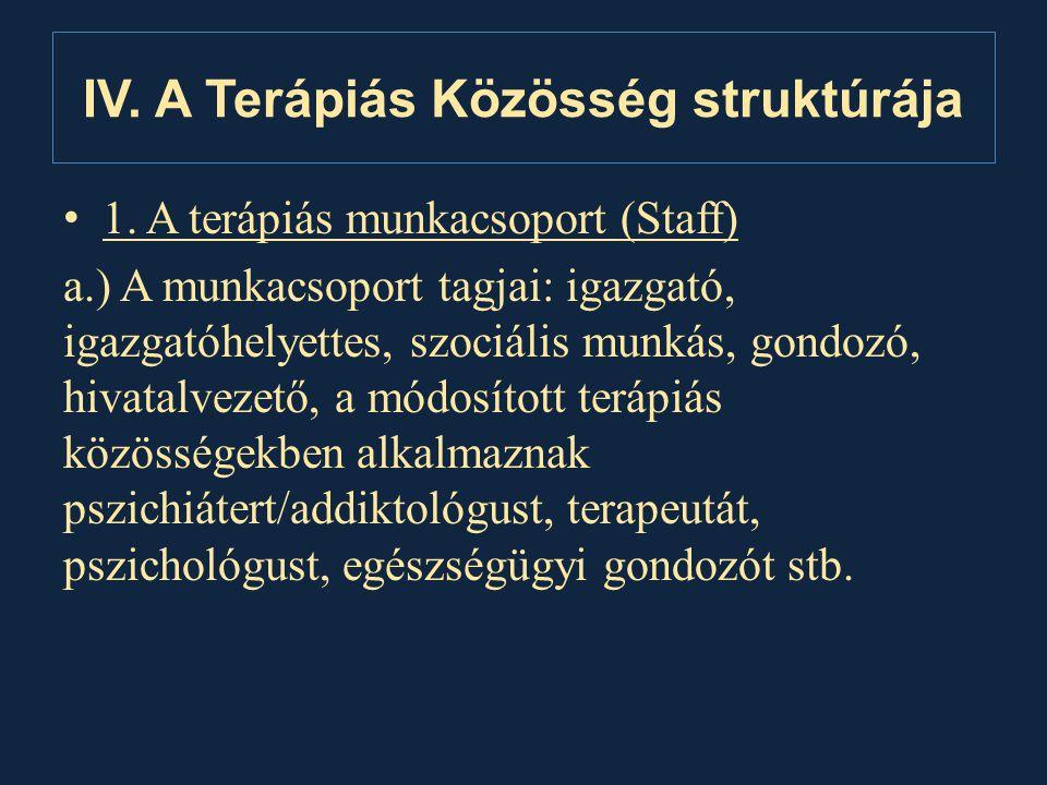 IV. A Terápiás Közösség struktúrája • 1. A terápiás munkacsoport (Staff) a.) A munkacsoport tagjai: igazgató, igazgatóhelyettes, szociális munkás, gon