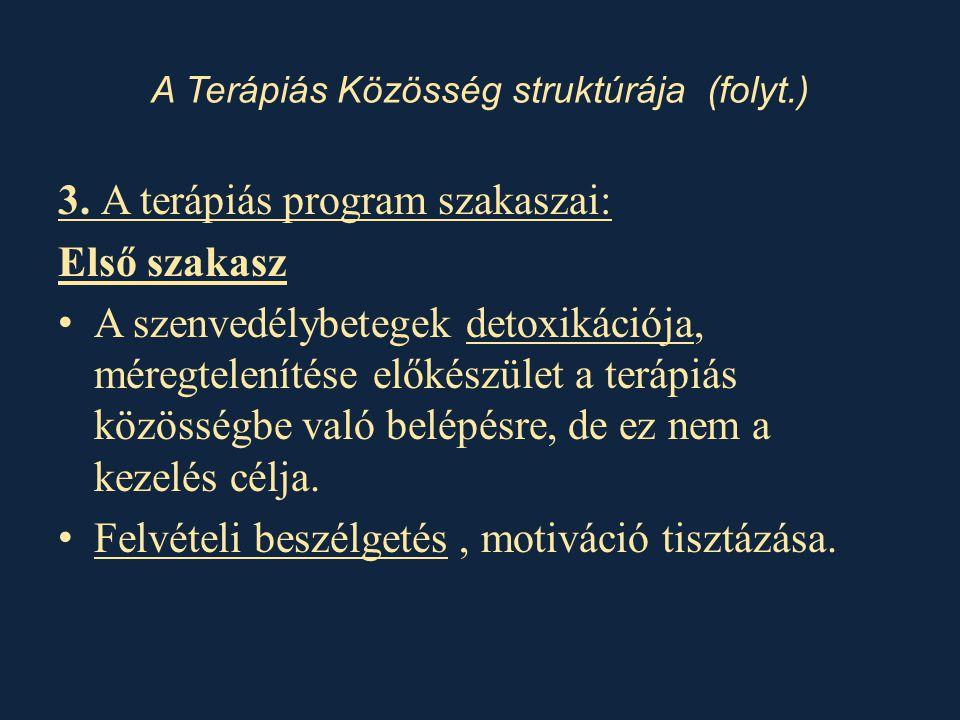 3. A terápiás program szakaszai: Első szakasz • A szenvedélybetegek detoxikációja, méregtelenítése előkészület a terápiás közösségbe való belépésre, d