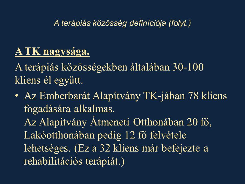 A terápiás közösség definíciója (folyt.) A TK nagysága.