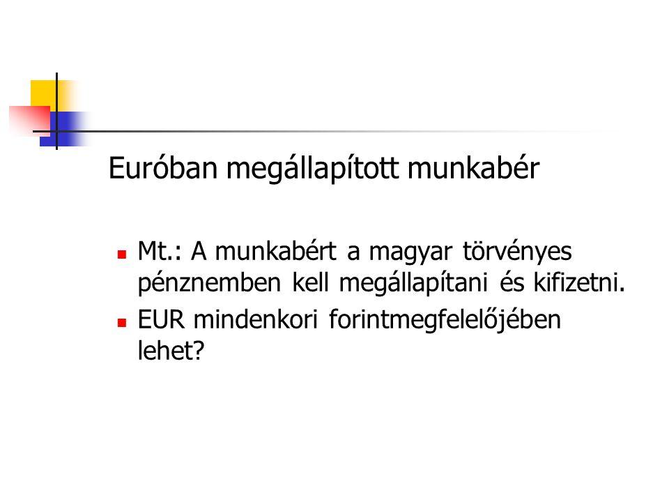 Euróban megállapított munkabér  Mt.: A munkabért a magyar törvényes pénznemben kell megállapítani és kifizetni.  EUR mindenkori forintmegfelelőjében